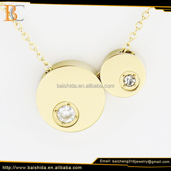 Baicheng beautiful round gold pendants necklace unisex jewelry