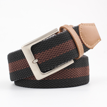 Canvas woven belt men's pin buckle fashion trend leather belt
