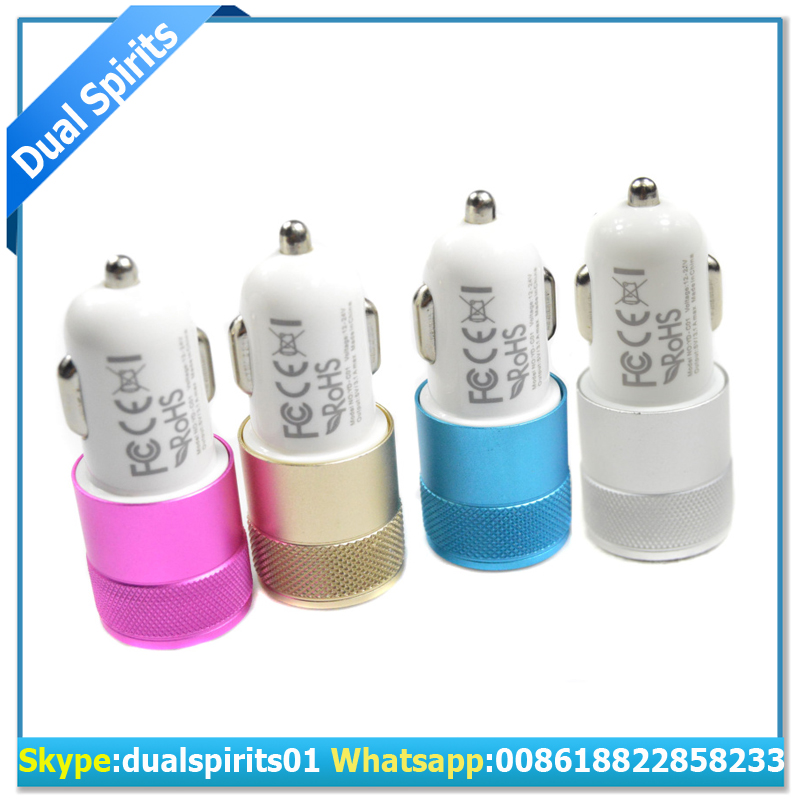 Aluminum frame LED display Dual USB Port 5V 2.1A USB Car Charger for Smart Phone Tablets supplier