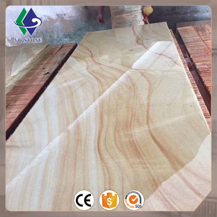 Hot wooden yellow sandstone slabs for sale