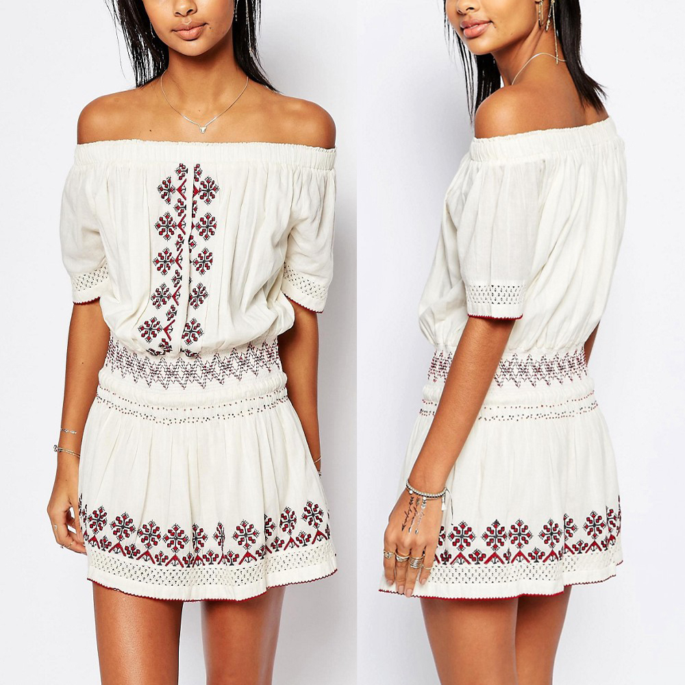 Summer New arrivals embroidered woman casual white off shoulder mini dress