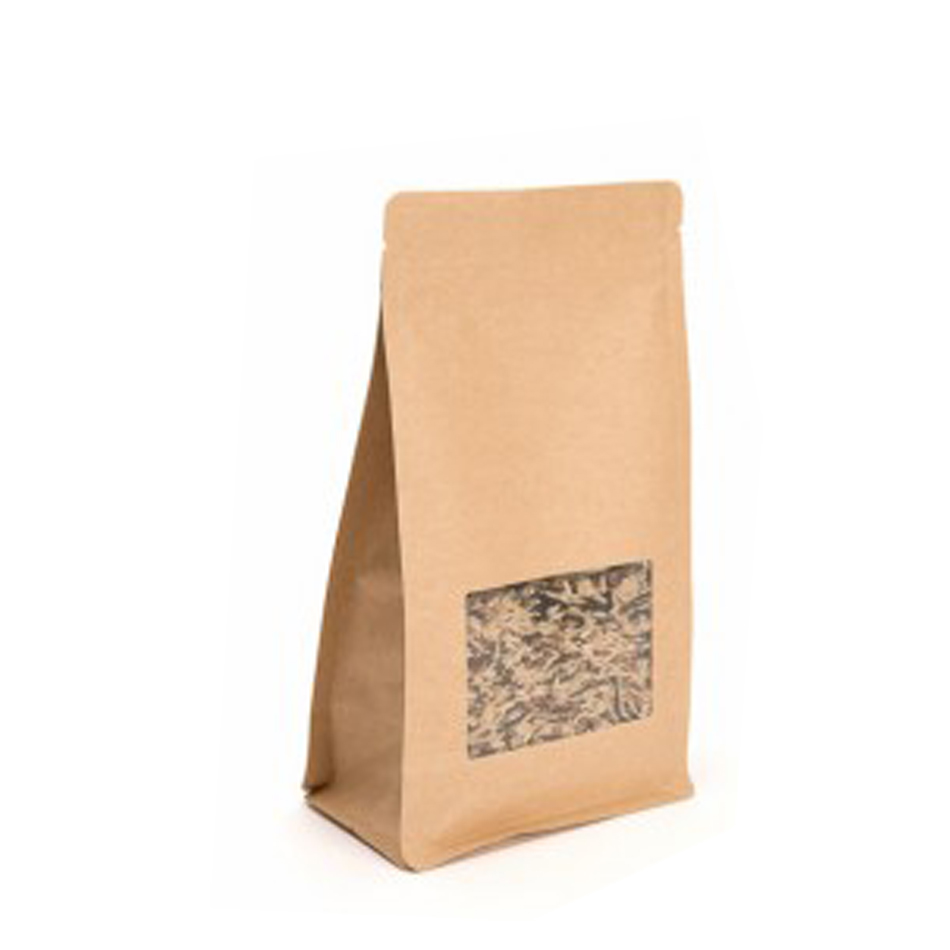 Logo Printed Brown Kraft Paper Food Packaging Flat Bottom Bags With Window