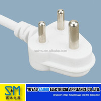 South African standard power cord with white plug and cable