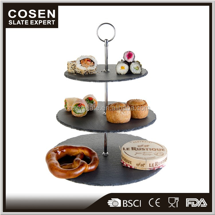 2017 Newest arrival products 3 tier slate cake stands