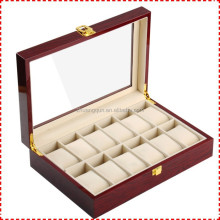 Hot!! 12 Slots Fashion Mahogany Glossy Lacquer Wooden Watch Box