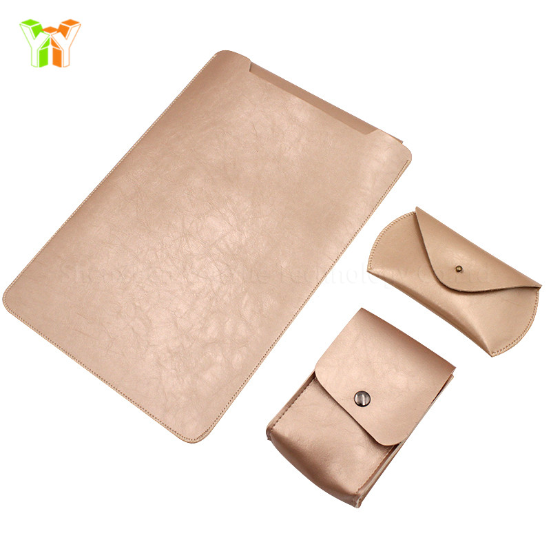 13 Inch Leather Laptop Sleeve Case Bag with Mouse Pad holder