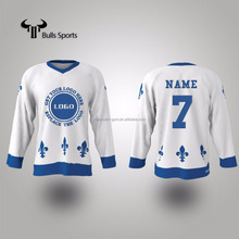Manufacture custom team number sublimation polyester ice hockey jersey