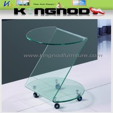 10mm Tempered glass coffee table with wheels Z Shape Coffee Table