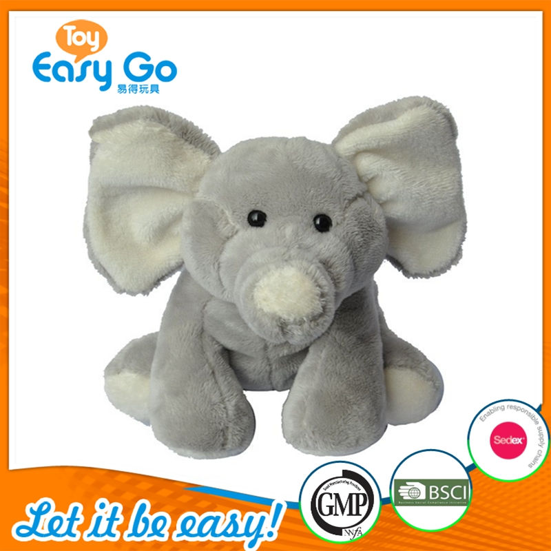 Hot Sale Super Soft Plush Animal Toy Cute Big Ears Gray Stuffed Elephant Toy