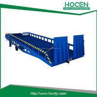 Warehouse Truck, Car Loading Working Platfrom Equipments Manual Lift Mobile Hydraulic Yard Ramp For Forklift Unloading