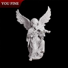 White Marble Little Angel Carving With Violin Models Garden Statues Wholesale