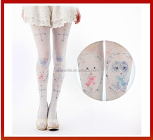 Sexy Women Knee High Hosiery Pantyhose Tattoo Legging Tights/Cat Face Design Pantyhose /Lovely School Girl Tights Pantyhose