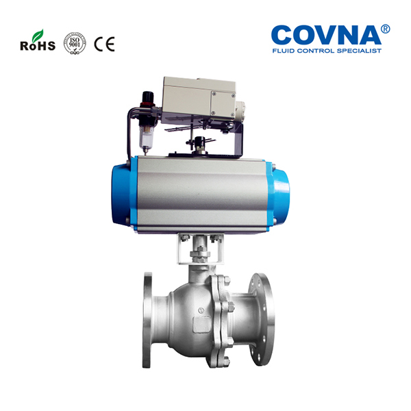 COVNA Flow Control Stainless Steel Pneumatic Ball Valve With Mounting Flange