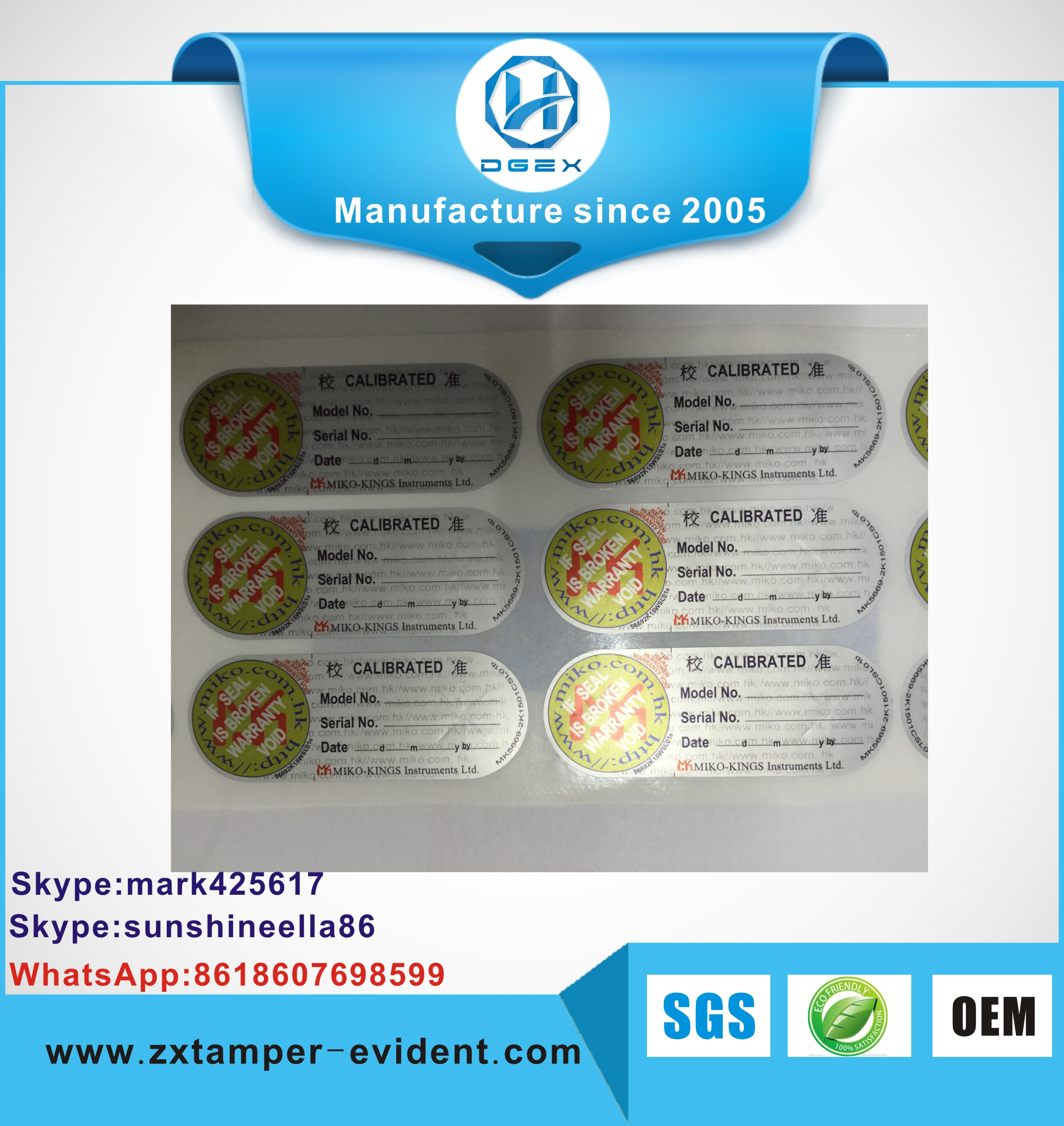 2017 most popular Anti-fake Custom &amp Cheap OPEN VOID tamper evident packaging label