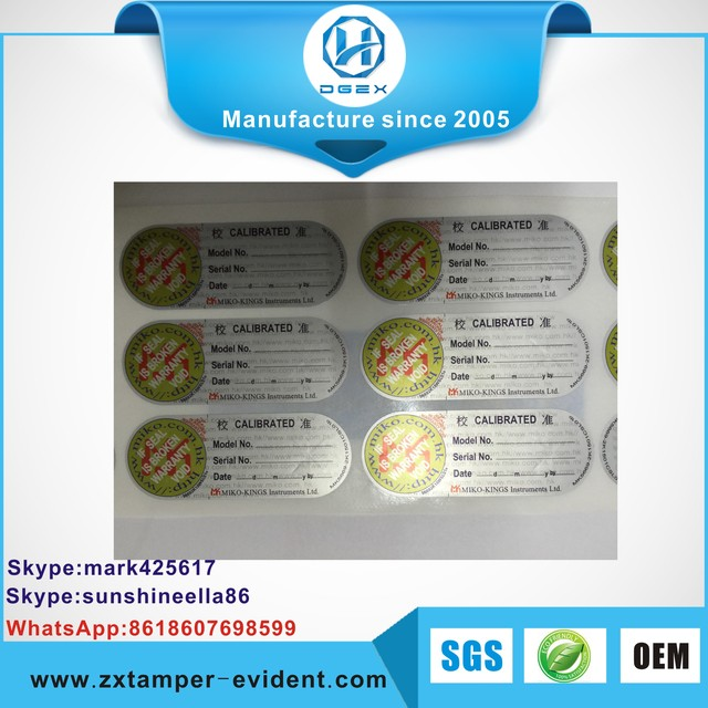 2017 most popular Anti-fake Custom & Cheap OPEN VOID tamper evident packaging label