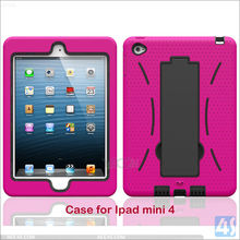 Pink Rugged Silicone Kickstand Dual Layer Case Cover for iPad mini 4