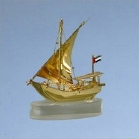 Real golden plated Crystal Dhow MODEL For Islamic wedding Souvenirs Gifts