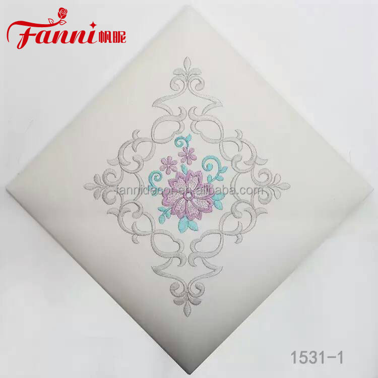 Embroidered Synthetic Leather/fanni flower embroidered pvc leather for home decoration