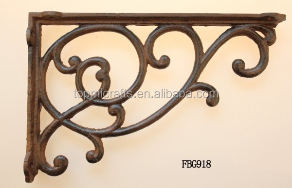European style antique cast iron shelf bracket support