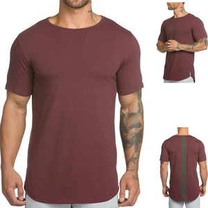 Custom drop tail t shirt dry fit long line curved hem oversize blank plain t-shirts men