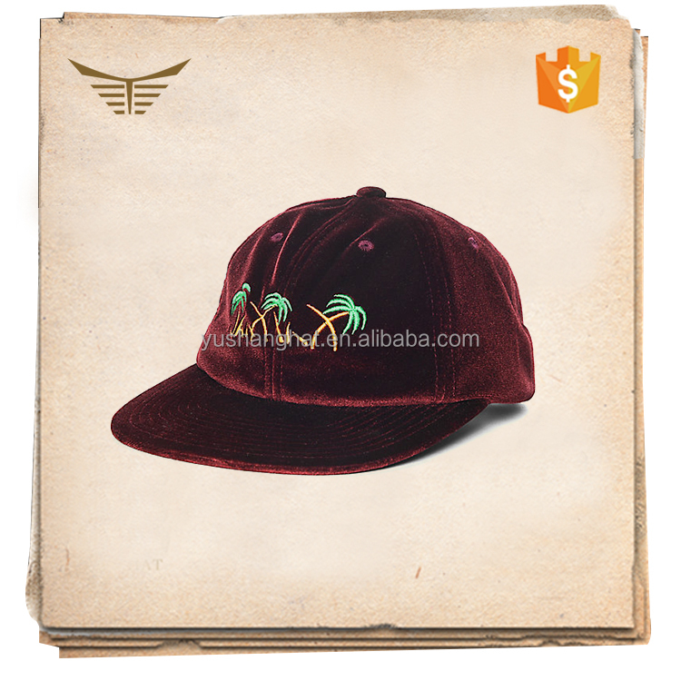 Custom adult burgundy velvet snapback hat with flat embroidery