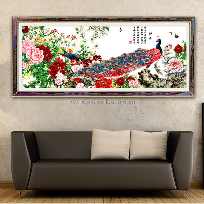 Huge frameless wall decration oil painting by numbers chinese style