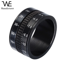 Titanium Steel Jewelry Black Plated Rotatable Design Calendar Ring with Date Number