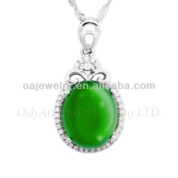 wholesales oval jade 925 sterling silver pendant