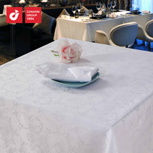 factory white cotton jacquard restaurant table cloth