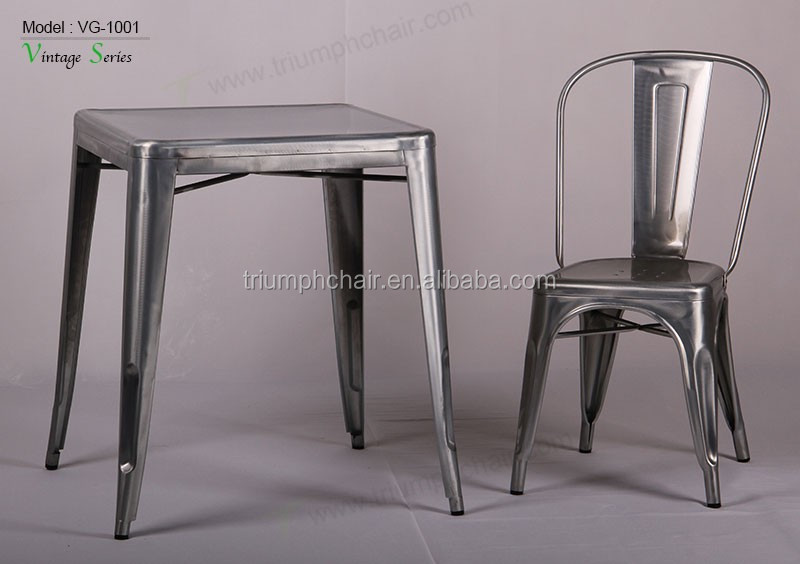 Triumph vintage metal industrial dining coffee table and chairs restaurant sets