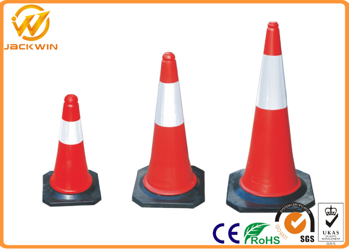 Construction Site 750mm Reflective Traffic Cone With 2.5kgs Black Rubber Base