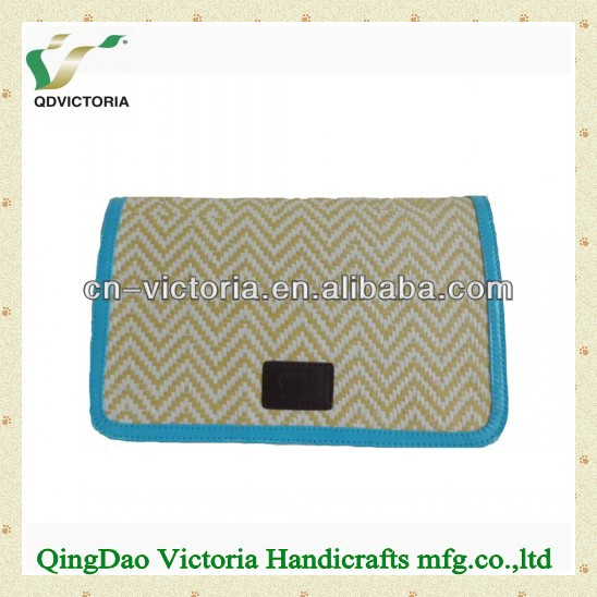 Clutch bag with pu trim in natural color