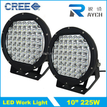 "225w Round C ree LED light 10"" spot Work off road fog driving roof bar bumper 4x4 utv led work lights"