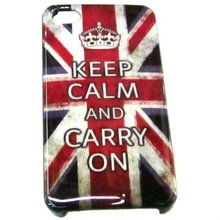 Fashion Cheap UK Flag And Keep Calm Words Print Hard Pastic Case For 4/4s