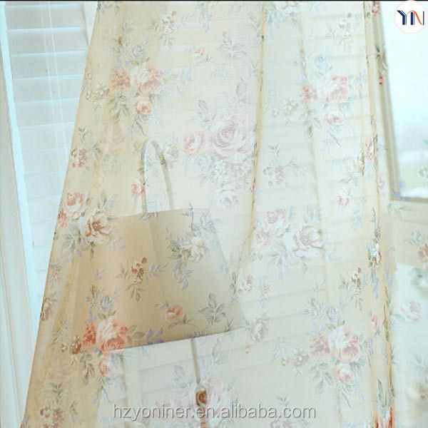 beautiful floral printed curtain voile and sheer curtain textile and fabric China supplier