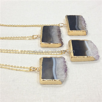 QN69 Amethyst Druzy Slice Necklace Gold or Silver Plated