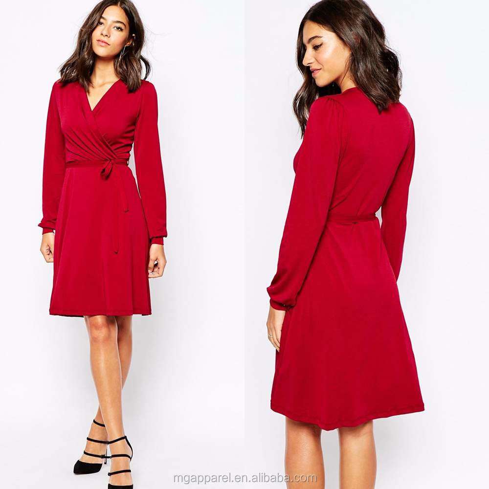 Women casual wear slim fit wrap front red long sleeve crepe casual dress