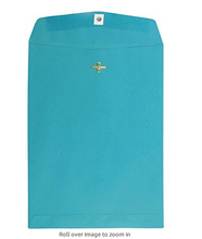 "9"" x 12"" Open End Catalog Envelope with Clasp Closure - Sea Blue Recycled - 100/pack"