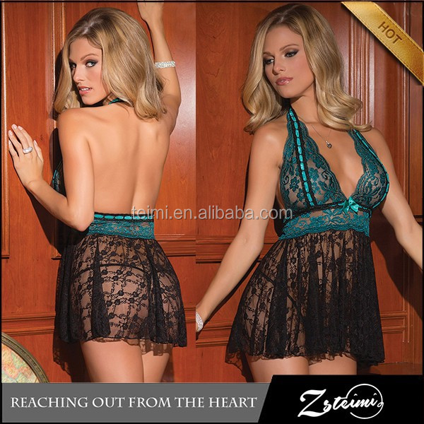 Hot Style Deep V Neck Transparent Lace Beautiful Girls Sexy Lingerie xxx Photos Babydoll