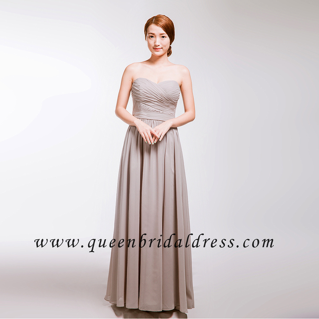 Hot sale Strapless semi-sweetheart neckline bridesmaid dresses Peach chiffon bridesmaid gowns