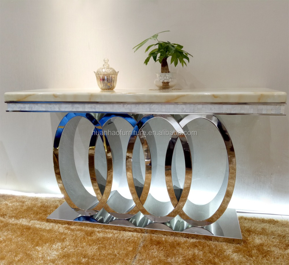 Living room furniture set stainless steel furniture top quality luxury marble modern wall console table