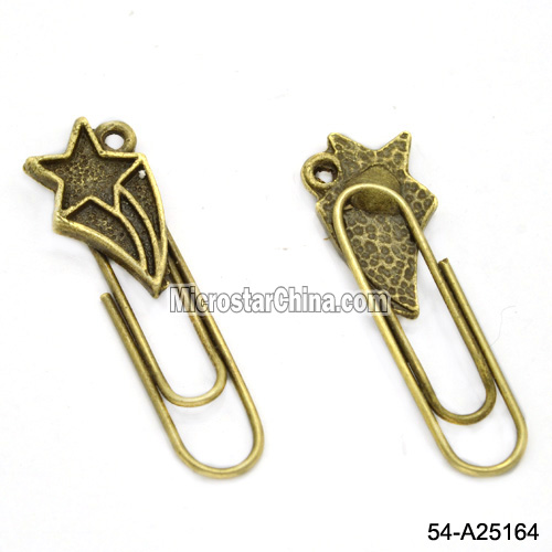 Antique Bronze Star Metal Paper Bookmark Charms
