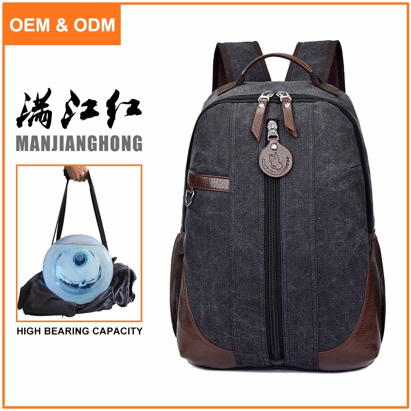 Fashion newest design China manufacturer direct sale leisure canvas vintage backpack
