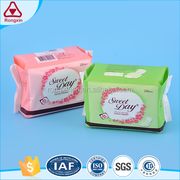 Infinity unscented disposable cotton winged brand name anion sanitary napkin for women night use