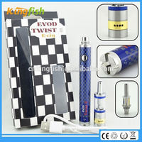 New starter kit 1.5ohm atomizer evod twist 3 m16 alibaba italian e cigarette with factory price
