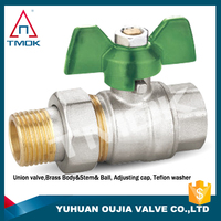 adjustable union double connector pipe full port aluminum handle nickle plated brass stem NPT thread brass ball valve