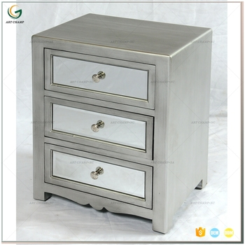 home furniture antique mirrored side table silver night stand