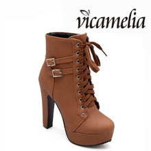 Wholesale Fashion Lace Up Heels Beautiful Short Boots Women Big Size High Heel Platform Shoes Ladies High Heels