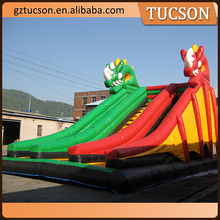 commercial inflatable double lane slip slide, giant inflatable slide for sale