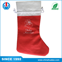 Fugang Promotion Special Custom Red Colour Socks Style Christmas Shopping Bag